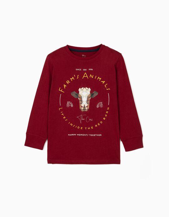 Long Sleeve T-Shirt for Boys 'The Cow', Burgundy
