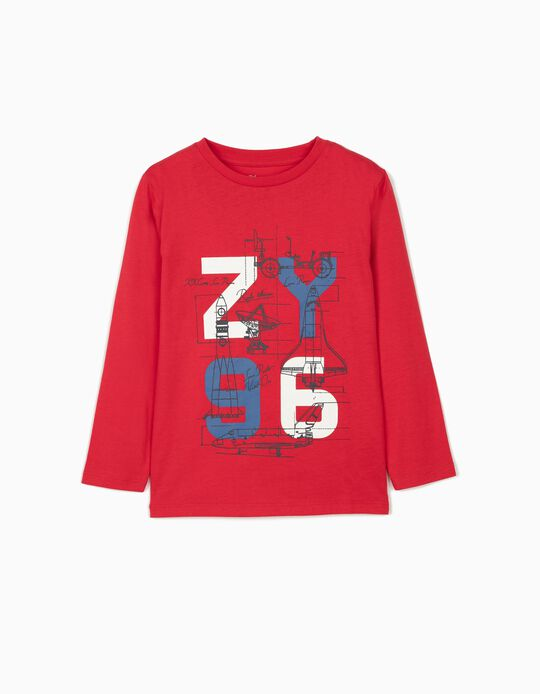 Long Sleeve Top for Boys, 'Space Project', Red