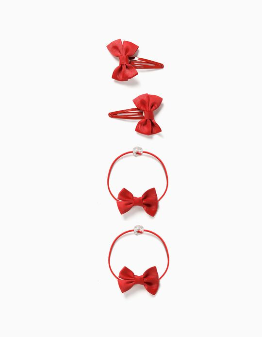 Pack of 2 Hair Clips + 2 Bobbles, 'Bows' for Girls, Red