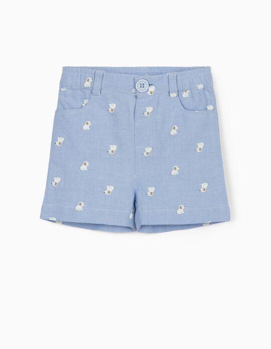 Shorts for Newborn Baby Boys, 'Cute Dogs', Light Blue