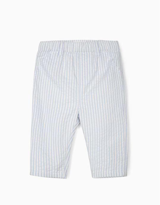 Trousers for Newborn Baby Boys, White/Blue