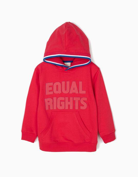 Sweatshirt com Capuz para Menino 'Equal Rights', Vermelho