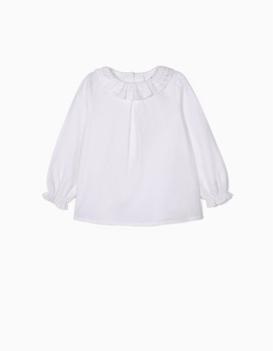 Blouse with Ruffles for Girls, White