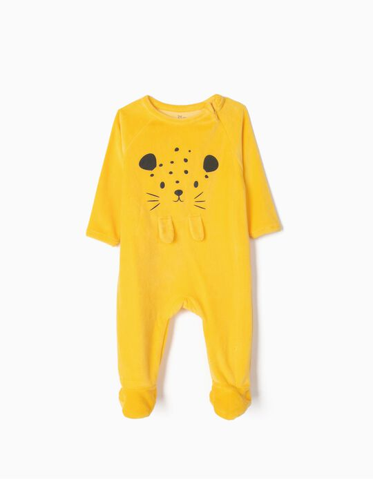 Velour Sleepsuit for Baby Boys 'Cute Leopard', Yellow