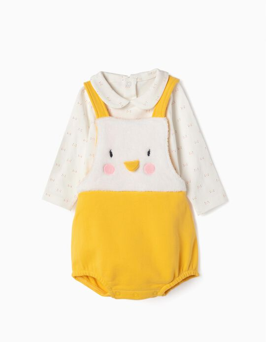 Romper and Bodysuit for Newborn 'Penguin', White/Yellow