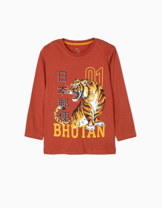 Long-sleeve Top for Boys 'Bhutan', Terracotta