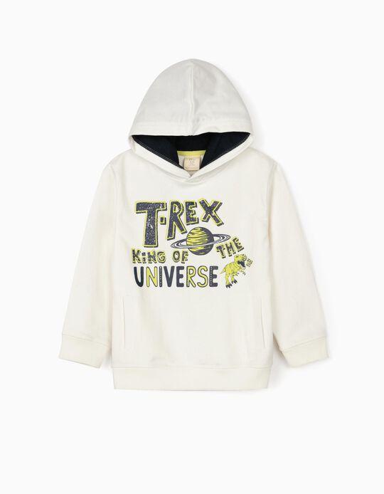 Hooded Sweatshirt for Boys, 'T-Rex', White