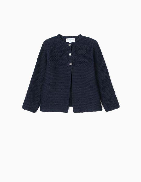 Casaco de Malha para Bebé Menina 'B&S', Azul Escuro
