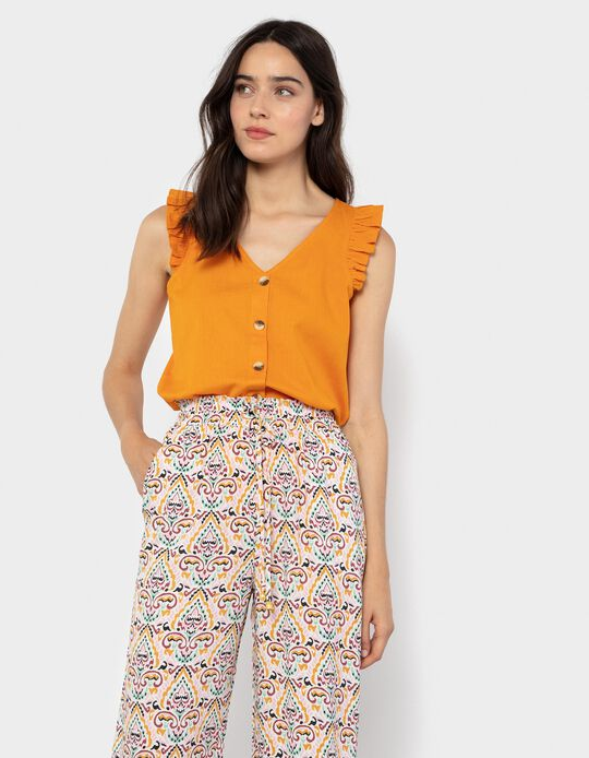 Cotton & Linen Blouse, Orange