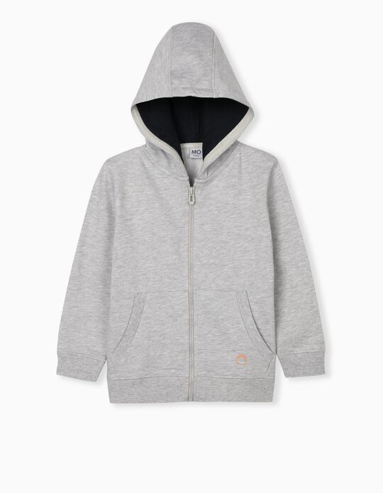Tracksuit Jacket in Organic Cotton, Grey