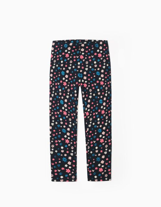 Rib Knit Leggings for Girls, 'Flowers', Dark Blue