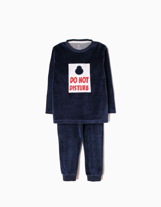 Pijama Veludo Do Not Disturb Azul