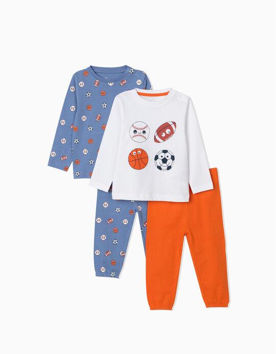 2 Long Sleeve Pyjamas for Baby Boys, 'Sports', Blue/White/Orange