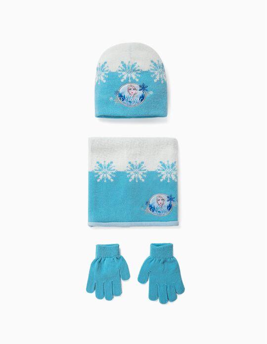 Conjunto gorra luvas e gola Frozen