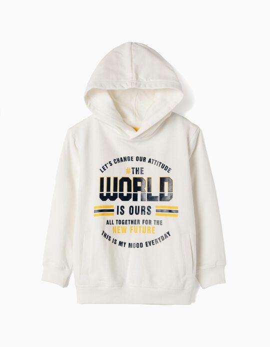 Sweatshirt com Capuz para Menino 'The World is Ours', Branco
