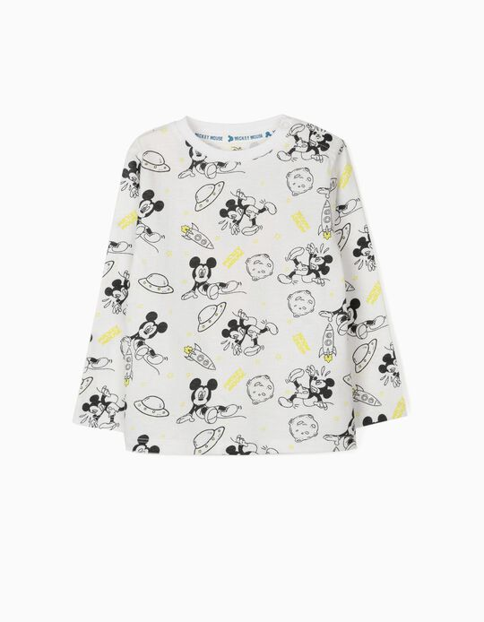 T-shirt de Manga Comprida para Bebé Menino 'Mickey Space', Branco