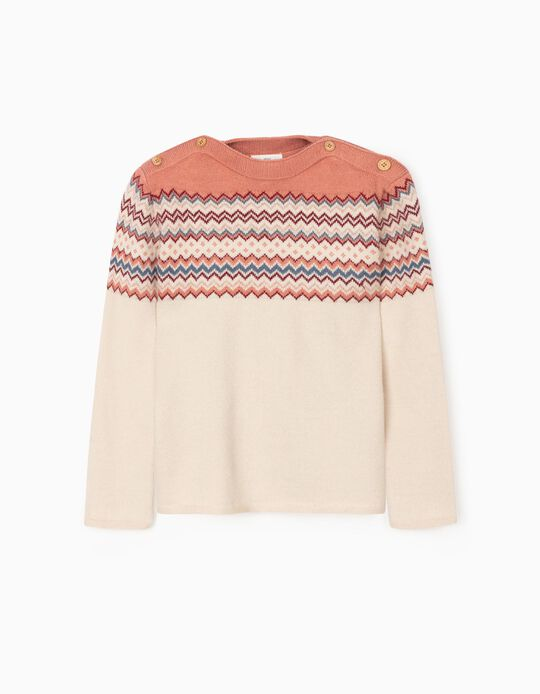 Jumper with Jacquard for Girls, Beige/Pink