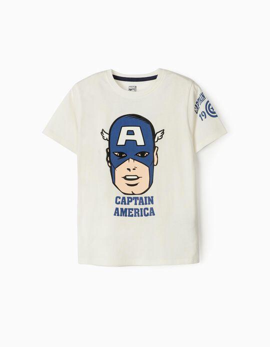 T-Shirt for Boys, 'Captain America', White