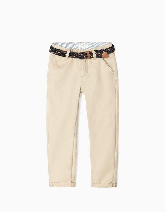 Chino Trousers with Belt for Boys, Beige