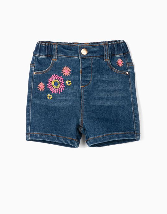 Denim Shorts with Embroideries for Baby Girls 'Comfort Denim', Blue