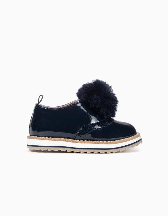 Sapatos de Verniz para Bebé Menina com Pompom, Azul Escuro