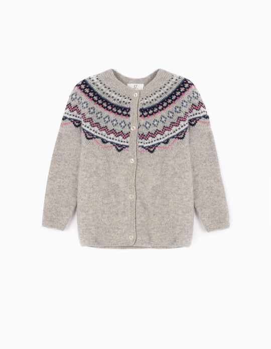 Wool Cardigan for Baby Girls, Grey