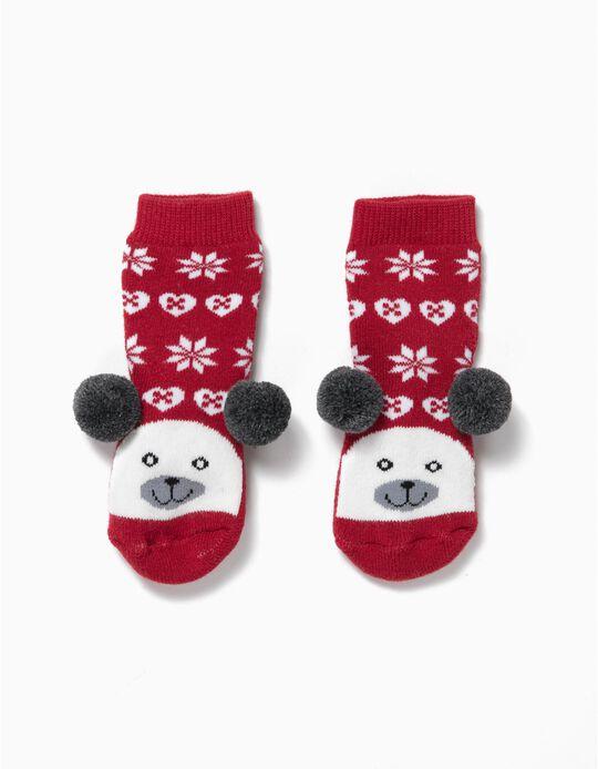 Meias Antiderrapantes Ursinho Natal Vermelhas