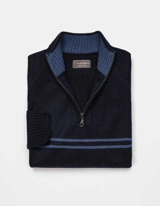 Camisola de Malha Riscas com Fecho, Homem, Azul