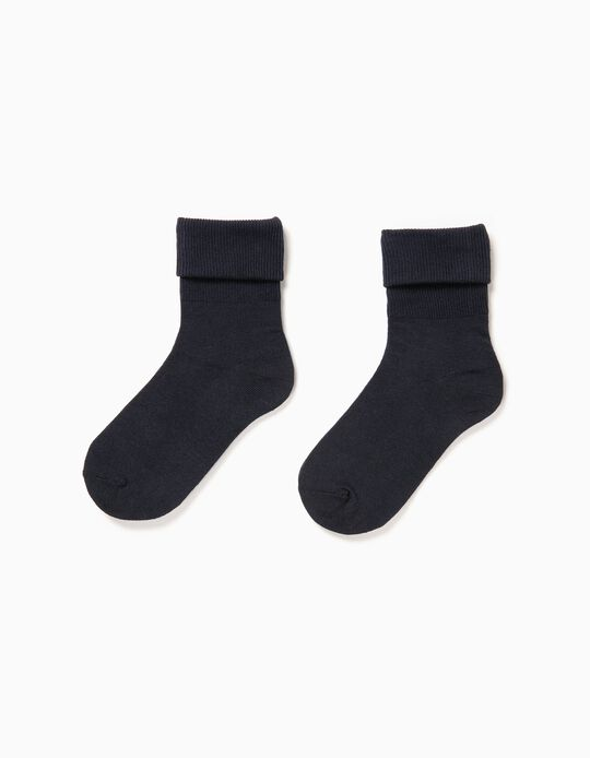Pack of 2 Pairs of Socks with Turndown, Blue