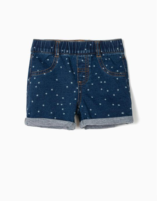 Denim Shorts for Baby Girls 'Stars', Dark Blue