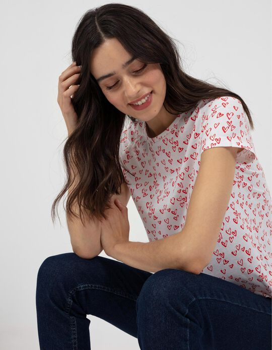 T-shirt with Hearts Print, White