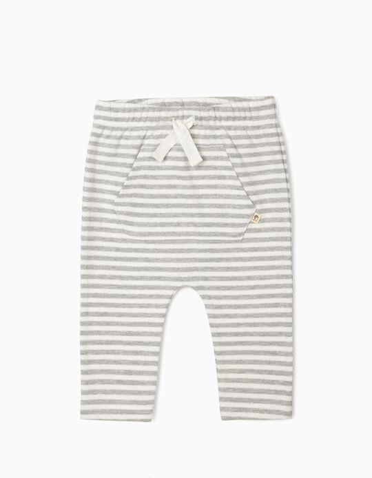 Organic Cotton Trousers for Newborn Baby Boys, Grey/White