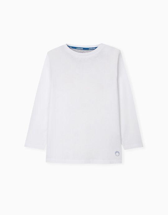 T-shirt Manga Comprida, Menino, Branco