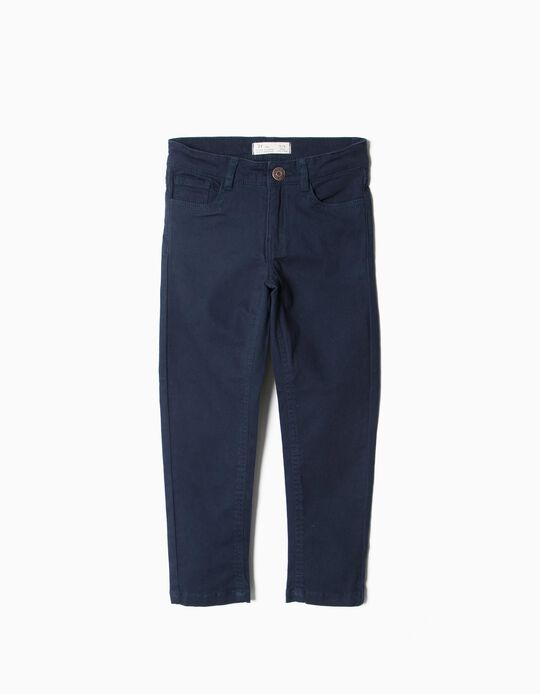 Twill Trousers, Navy Blue