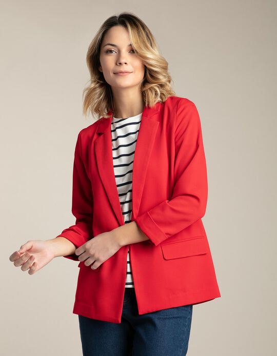 Blazer with Roll Up Sleeves