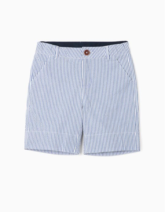 Striped Shorts for Boys, 'B&S', Blue/White