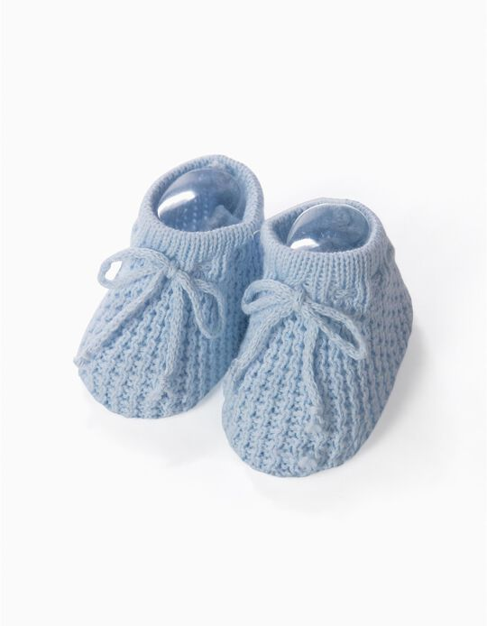 Knit Booties for Baby, Blue