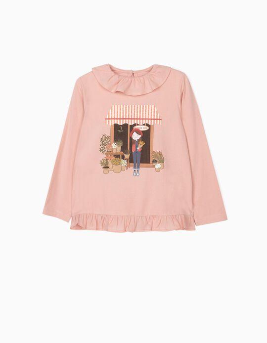 Long Sleeve Top for Girls 'Flower Girl', Pink