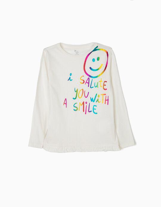T-shirt Manga Comprida para Menina 'Sharing is Caring', Branco
