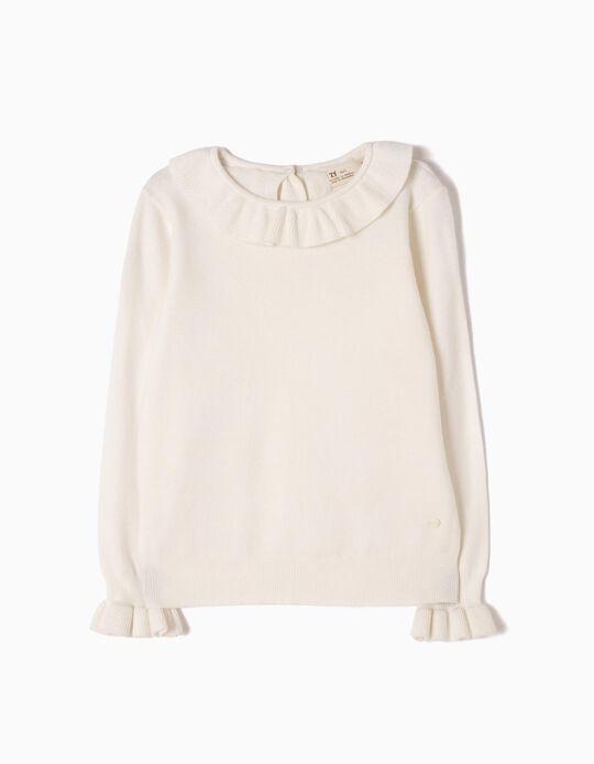 Camisola de Malha Branca com Folhos