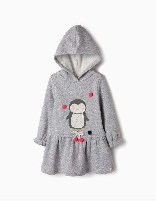 Vestido com Capuz para Bebé Menina 'Penguin', Cinza