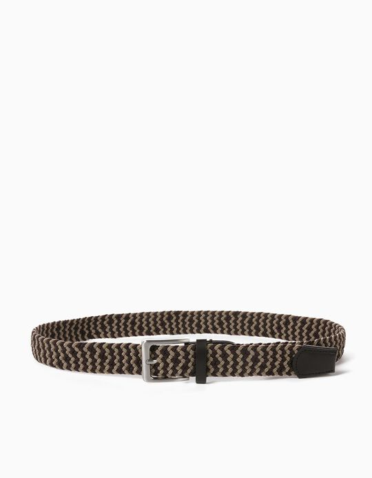 Braided Belt for Men, Brown