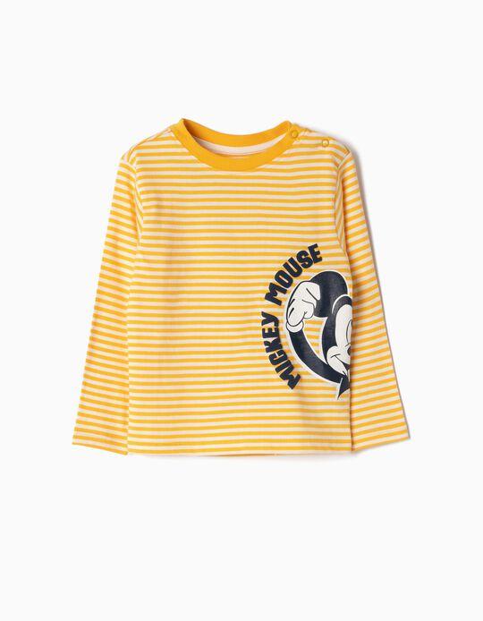 T-shirt para Bebé Menino 'Mickey', Amarelo e Branco