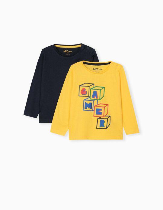 2 Long Sleeve Tops, Kids, Black/ Yellow