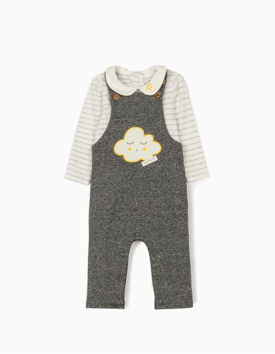 Jumpsuit and Bodysuit for Newborn Babies 'Cloud', Grey/White