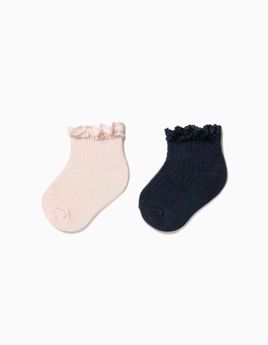 Pack of 2 Pairs of Socks, Pink & Blue with Lace