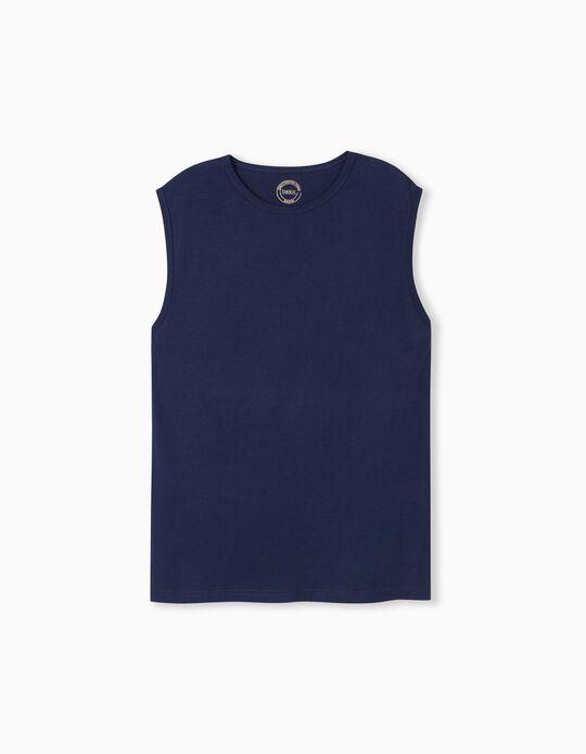 T-shirt Manga Cava, Homem, Azul Escuro