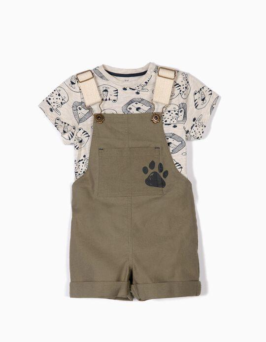 Jardineiras e T-shirt para Bebé Menino 'Animals', Verde e Bege