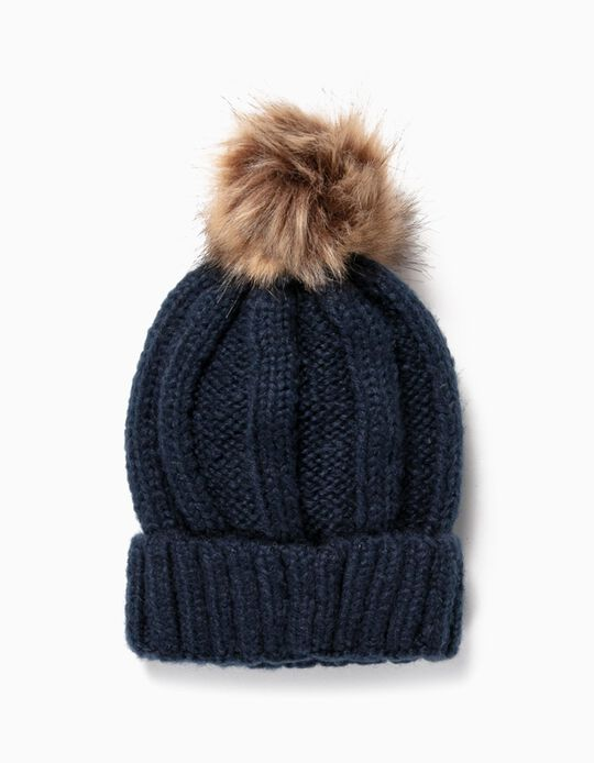 Knit Beanie with Pompom for Girls, Dark Blue