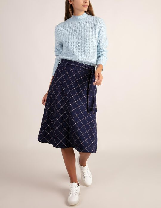Chequered midi-length skirt